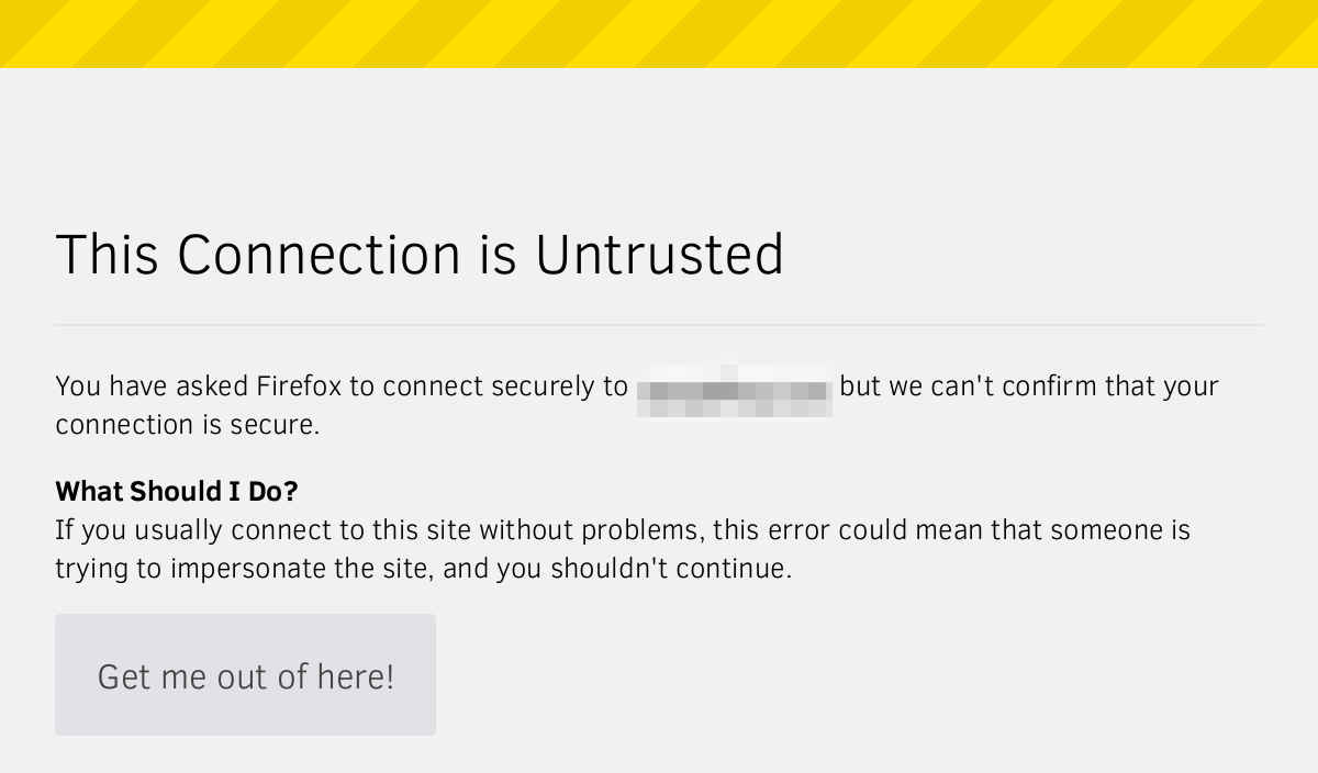 Screenshot: This Connection is Untrusted